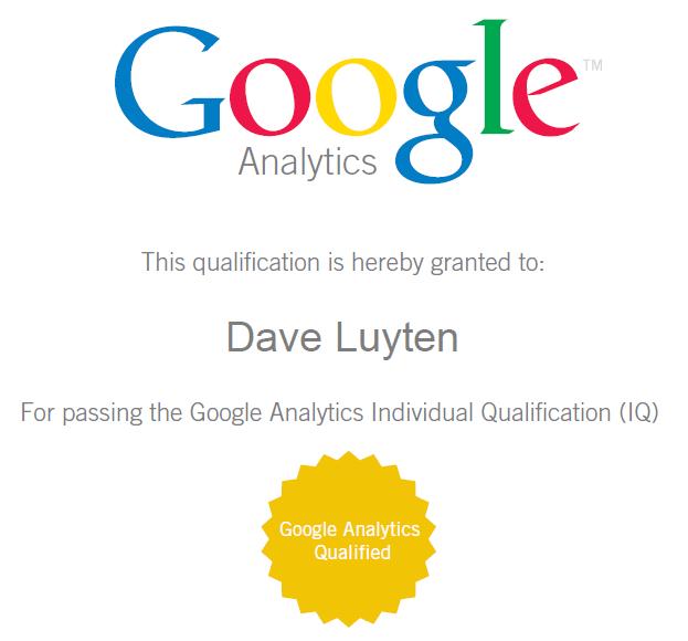 Google Analytics Individual Qualified (GAIQ) certificaat van Dave Luyten