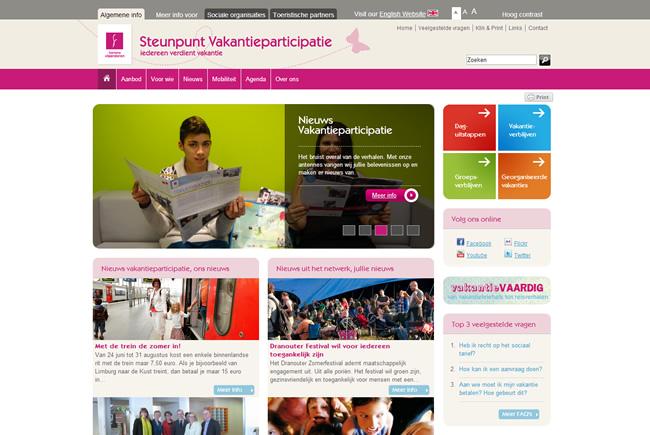 Screenshot website Steunpunt Vakantieparticipatie