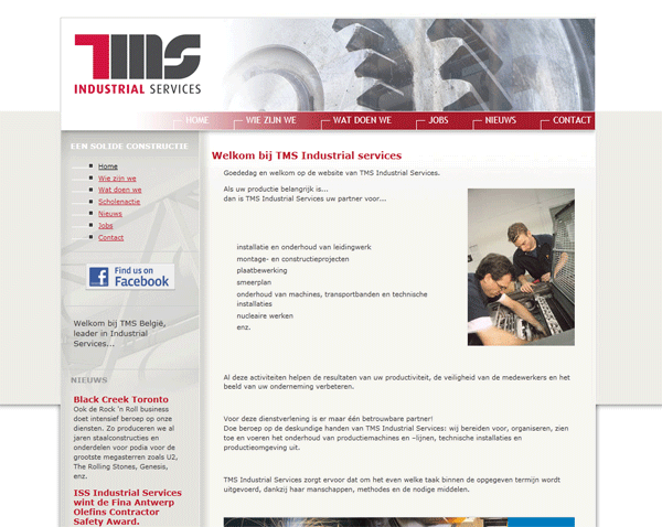 Screenshot TMS website