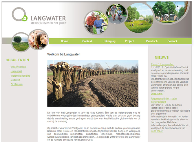 Screenshot Langwater website
