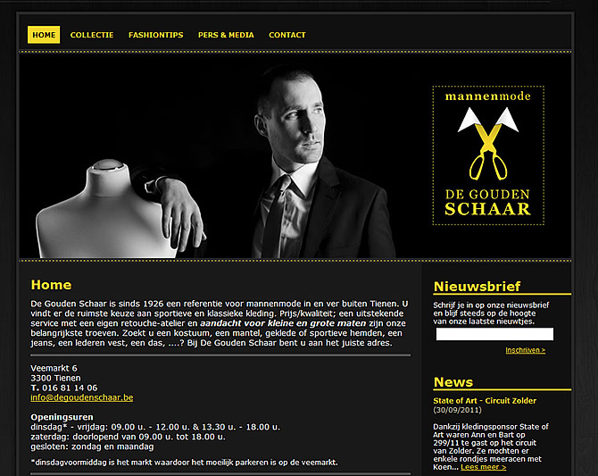 Screenshot De Gouden Schaar website