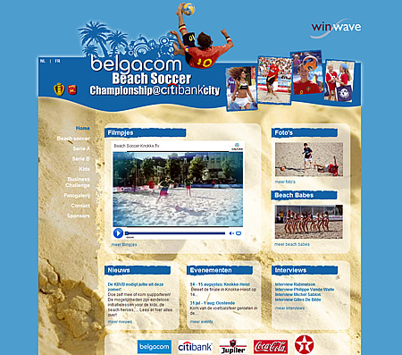 Screenshot Belgacom Beach Soccer website