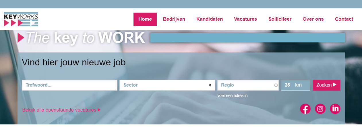 header vand e website van Keyworks