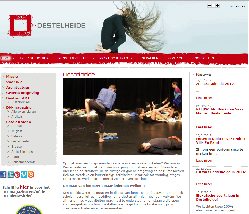 Destelheide website screenshot